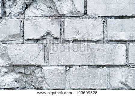 Brick Stone Wall  Painted In Silver, Graffiti Background