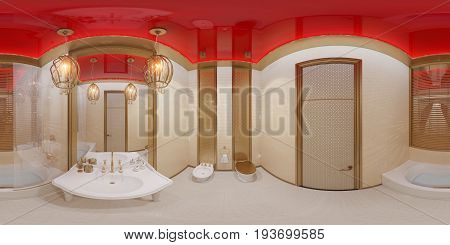 3d illustration spherical 360 degrees, seamless panorama of bathroom hotel room in a traditional Islamic style. Beautiful deluxe room background interior view decorated with arabian motifs.