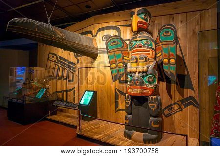 HOUSTON, USA - JANUARY 12, 2017: Indian art with some totems inside of the National Museum of Natural Science in Orlando Houston in USA.