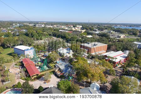 HOUSTON, USA - JANUARY 12, 2017: Aerial view of the town located near Legoland park atraction.