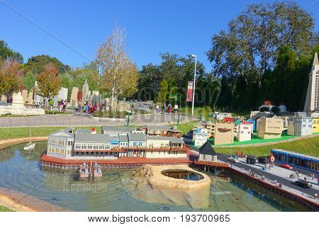 HOUSTON, USA - JANUARY 12, 2017: Miniland USA is replete with inspiring reproductions, made with 20 million LEGO pieces cities from all around the world, at Legoland, Carlsbad, CA.