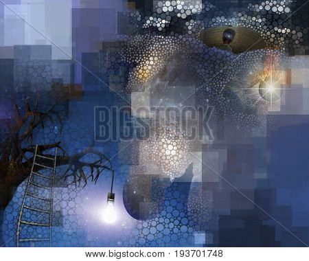 Tree with hanging light bulb human with galaxy mind and floating flaming eye with rectangular shapes and small circles abstract  Some elements provided courtesy of NASA   3D rendering