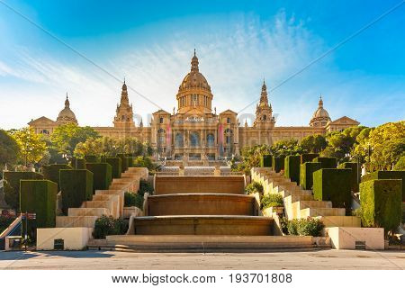 Spain square or Placa De Espanya during morning golden hour, with the National Museum, in Barcelona, Spain