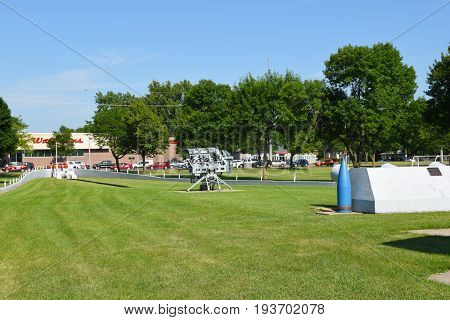 SIOUX FALLS, SOUTH DAKOTA - JUNE 21, 2017: The USS South Dakota Memorial looking towards the bow. A concrete outline depicts the actual dimensions of the highly decorated warship.