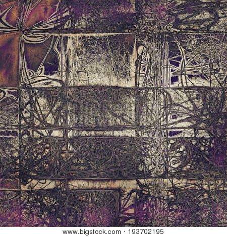 Vintage ancient background or texture with grunge decor elements and different color patterns: yellow (beige); purple (violet); pink; brown; gray; black