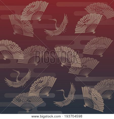 Hand fan and crane Japanese traditional pattern illustration