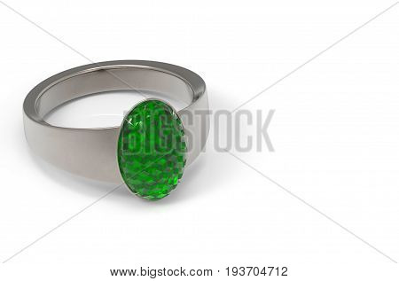 3d rendering. Realistic luxurious green Jade gem ring on white background