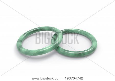 3d rendering. Realistic luxurious Jade bracelet on white background