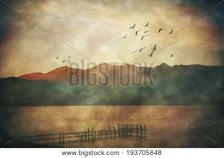 Grunge misty rain textured moody landscape and flock of birds at Lake Te Anau jetty, New Zealand poster