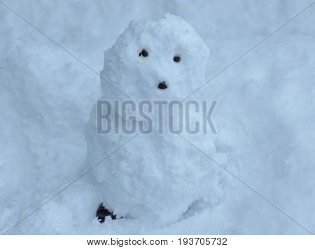 An ugly snowman on snow ground on winter