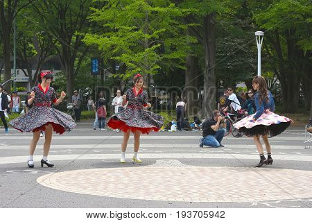2017 May 8. TOKYO JAPAN. a women group dancing in tap dance rock and roll style at Yoyogi park tokyo japan