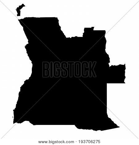 Angola Black Silhouette Map Outline Isolated On White 3D Illustration