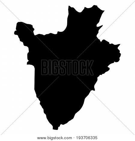 Burundi Black Silhouette Map Outline Isolated On White 3D Illustration