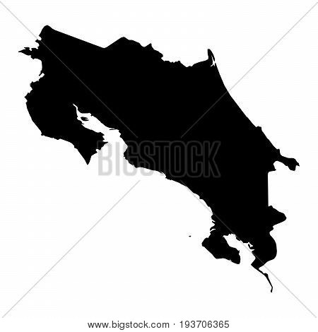 Costa Rica Black Silhouette Map Outline Isolated On White 3D Illustration