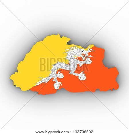 Bhutan Map Outline With Bhutanese Flag On White With Shadows 3D Illustration