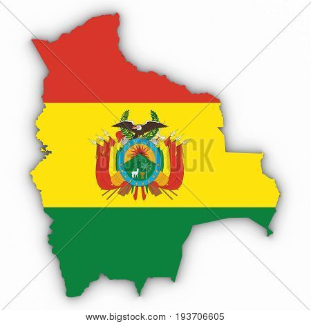 Bolivia Map Outline With Bolivian Flag On White With Shadows 3D Illustration