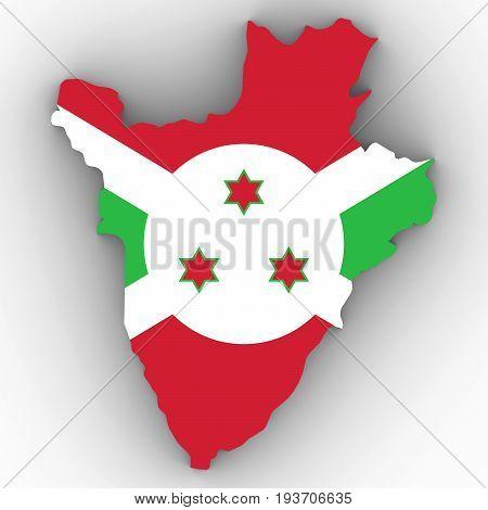 Burundi Map Outline With Burundian Flag On White With Shadows 3D Illustration