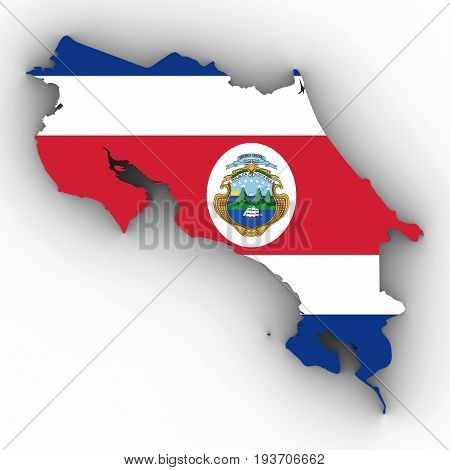 Costa Rica Map Outline With Costa Rican Flag On White With Shadows 3D Illustration