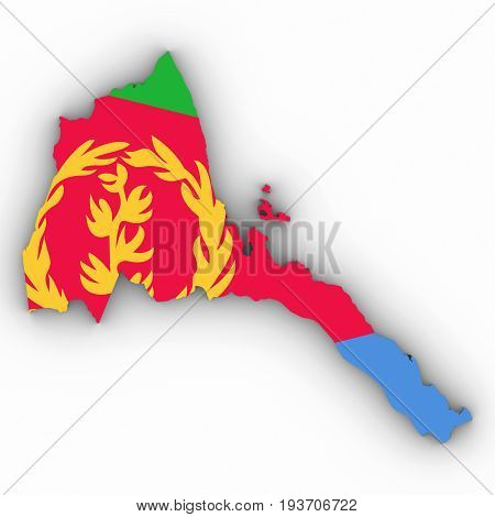 Eritrea Map Outline With Eritrean Flag On White With Shadows 3D Illustration