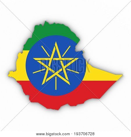 Ethiopia Map Outline With Ethiopian Flag On White With Shadows 3D Illustration