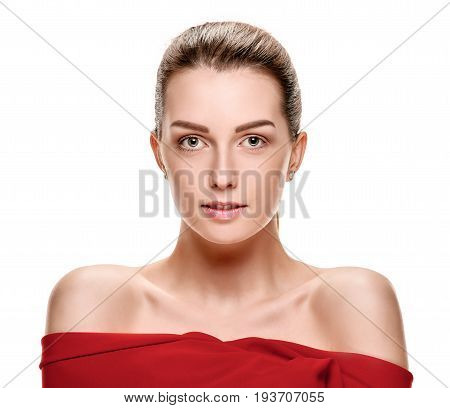 Young sensual attractive woman in shawl demonstrating her shoulders