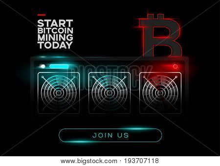 Detailed Vector Illustration of Bitcoin Miners and Red Bitcoin Logo on Black Background. Glowing Mining Computer. Banner for Cryptocurrency Market Article Advertising.
