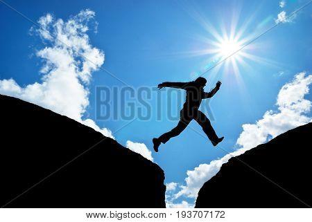Man jump. Conceptual scene.