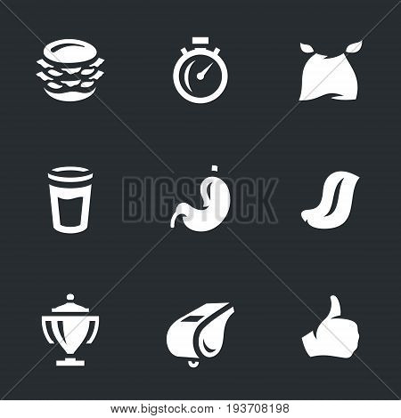 Burger, stopwatch, bib, glass, stomach, tongue, cup, whistle, hand.