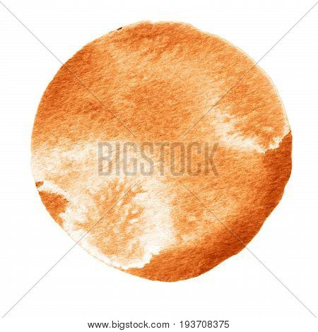 Watercolor abstract flame scarlet brown circle isolated on white background. Modern spot of round shape painted in watercolor in shades of brick carrant and blood colors. Trendy watercolour texture