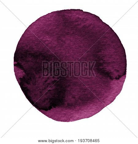Watercolor abstract deep purple circle isolated on white background. Modern spot of round shape painted in watercolor in shades of boysenberry sangria and jam colors. Trendy watercolour texture 2017