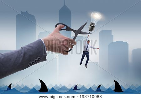 Business concept with lamp and businessman