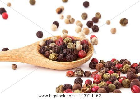 Close up mixed type of peppercorns in wooden spoon