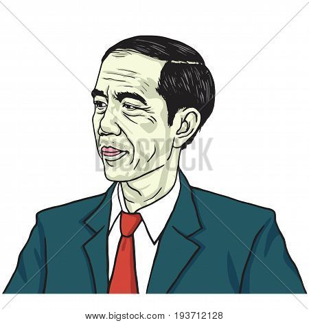 Jokowi Joko Widodo. Color Portrait Drawing Vector. July 3, 2017