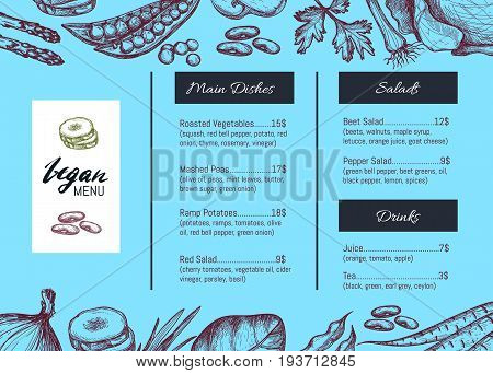 Vegan cafe menu identity hand drawn design with vegetable sketches. Vegetarian restaurant cafe price catalog with salads, drinks and main dishes sections, healthy farm food card vector illustration.