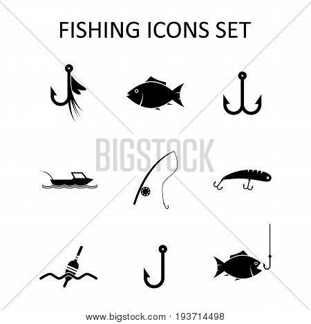 Fishing icons set. Silhouette vector illustration. Flat design