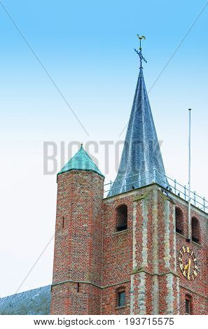 The church spire from the James church Sint Jacobus in Renesse Holland.