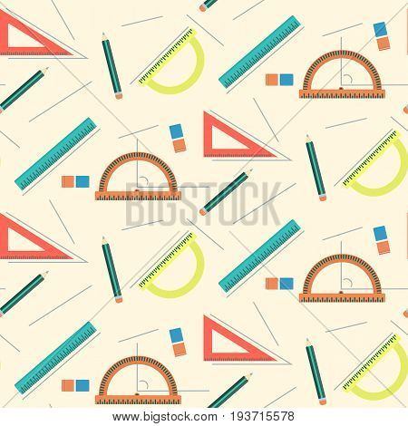 Cute school mathematics pattern with rulers pencils lines and erasers. Education texture with geometry and drawing ornament for kids school textile covers backgrounds bookstore equipment surface
