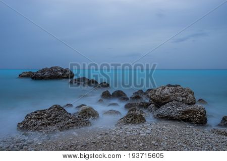 Agios Nikitas Lefkas island Greece at dusk
