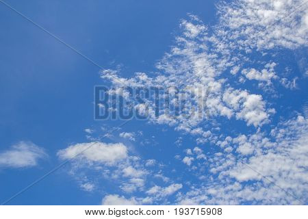 White cloud on blue sky background space for design