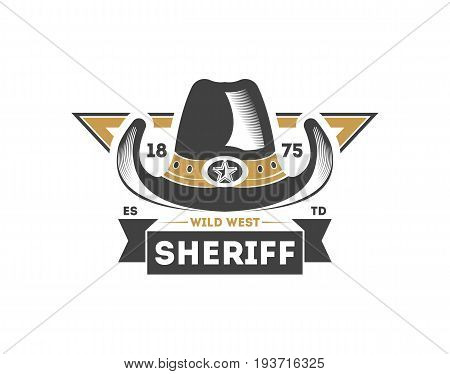 Wild west sheriff vintage isolated label. American rodeo event badge, authentic cowboy show symbol vector illustration.