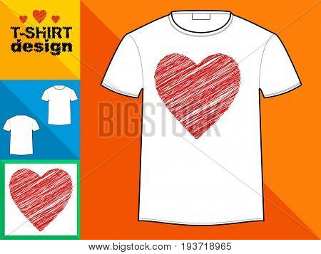 Template T-shirt with an trendy design: Heart hatching with red lines.