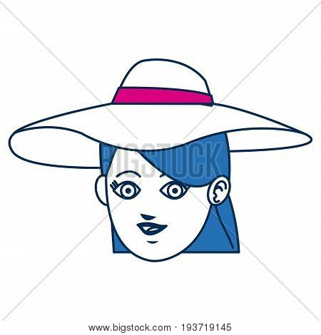 girl avatar face blue hair and hat vector illustration