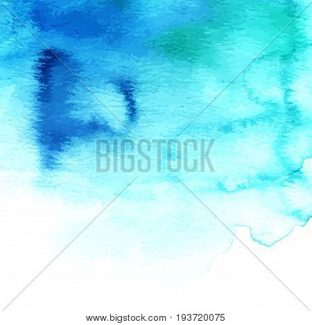 Artistic watercolor vibrant teal background texture with brushstrokes. Abstract paint stain. Scalable vector graphic, isolated on white. Frame with copyspace