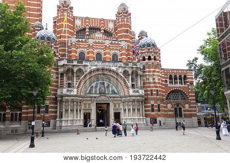 LONDON UNITED KINGDOM - JUNE 22 2017: Westminster Cathedral Catholic Church neo-Byzantine style. It is the largest Catholic church in England and Wales and the seat of the Archbishop of Westminster.