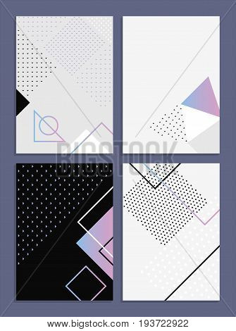 Posters with abstract forms, geometric style 80's, memphis. Retro-art for covers, banners, flyers and posters. Vector illustration