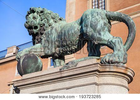 Stockholm, Sweden. Old Bronze Statue Of Lion
