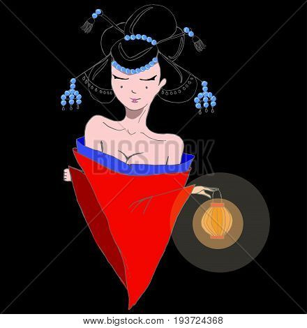 Stylized vector illustration of a beautiful geisha girl in red kimono at night. Japanese girl with a lamp. Doodle style.