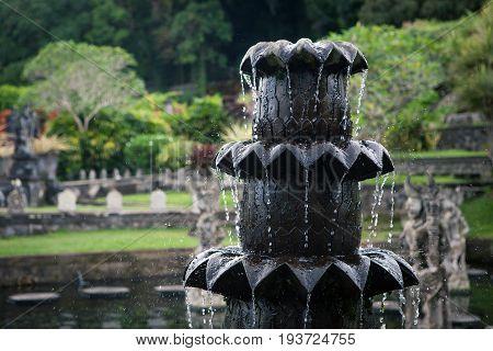 Stone fountain of the Temple in Bali Tirta Gangga, Indonesia
