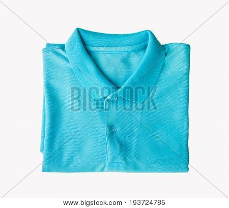 Top view close up of man polo shirt isolated on white background