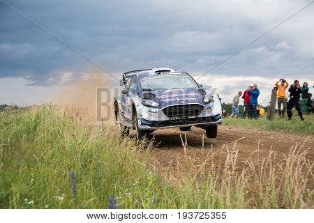 MIKOLAJKI, POLAND - JUL 1: Teemu Suninen and his codriver Mikko Markkula in a Ford Fiesta WRC race in the 74nd Rally Poland, on July 2, 2017 in Mikolajki, Poland.